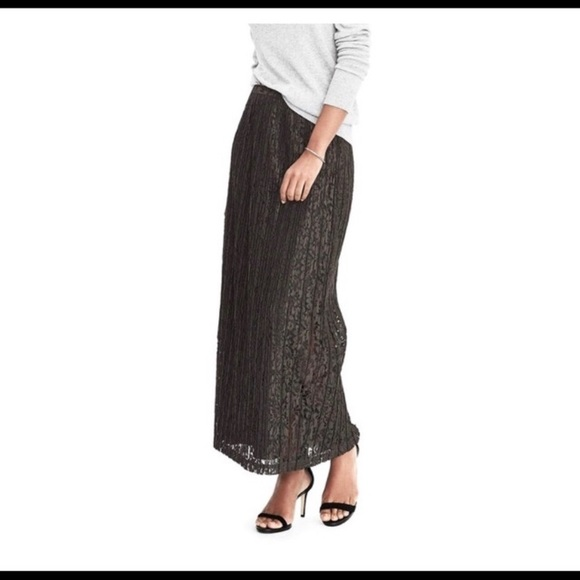 Banana Republic Skirt Dark Grey Lace NWT Maxi 14